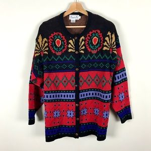 Vintage Floral and Tribal Print Cardigan Sweater